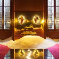 Dimore Gallery presents metallic Gabriella Crespi furniture amongst sand dunes
