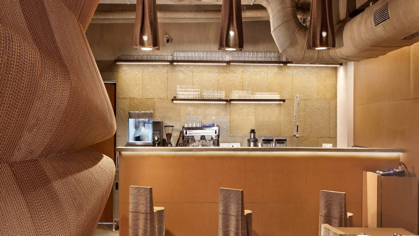 Bombay cafe by Nudes architecture office is made entirely from recycled cardboard