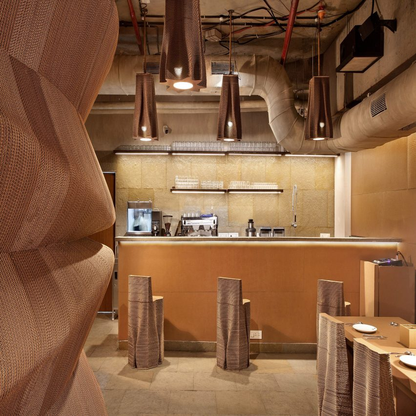 Nudes creates cafe in Mumbai entirely from cardboard