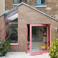 Cork walls and pink window frames characterise London house extension by Nimtim Architects