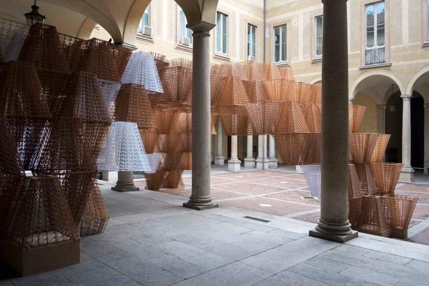 Conifera, the COS installation by Arthur Mamou-Mani, at Milan design week