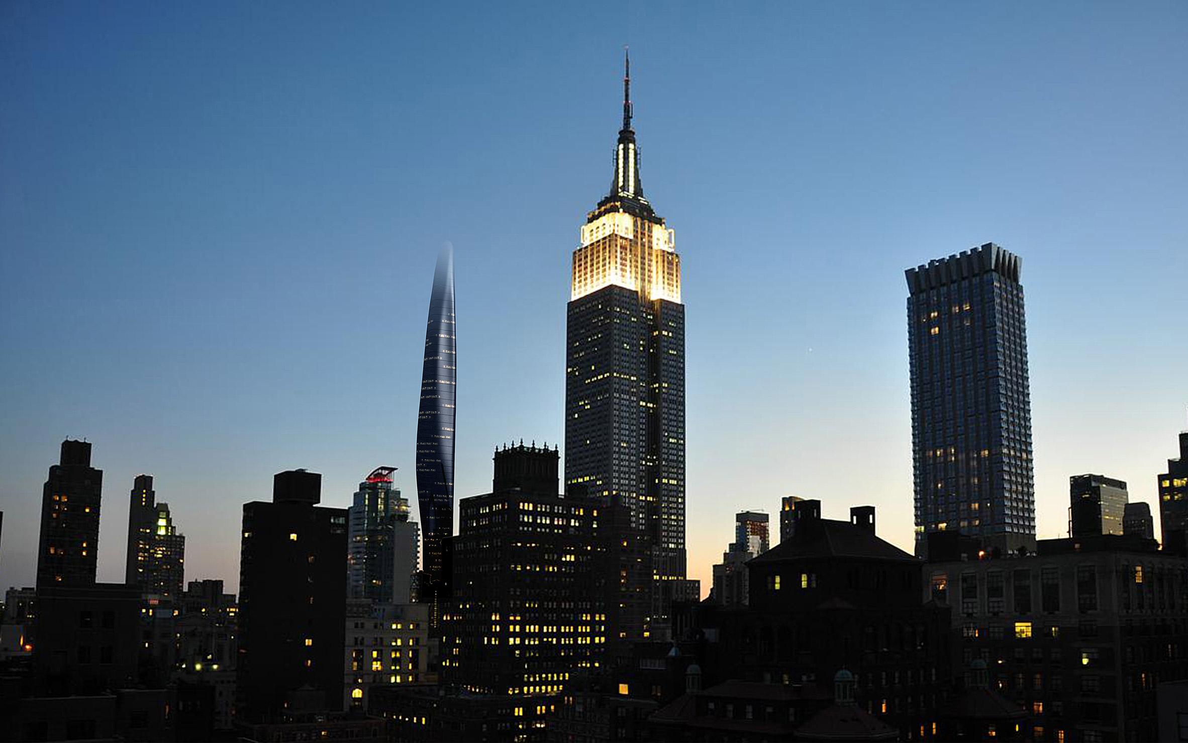 """Темный стеклянный фасад и плавные линии """"растворяют"""" новую башню в существующей застройке"""