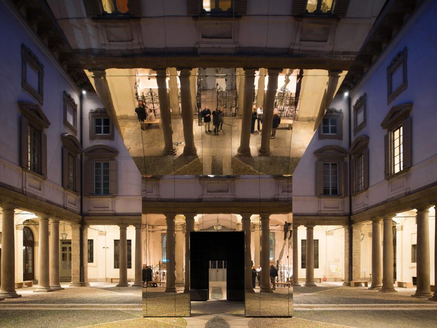 Echo Pavilion by Pezo von Ellrichshausen at Palazzo Litta in Milan