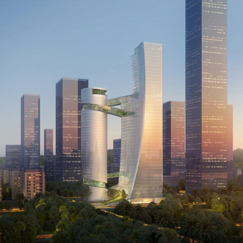 Steven Holl reveals pair of towers connected by plant-filled bridges in Shenzhen