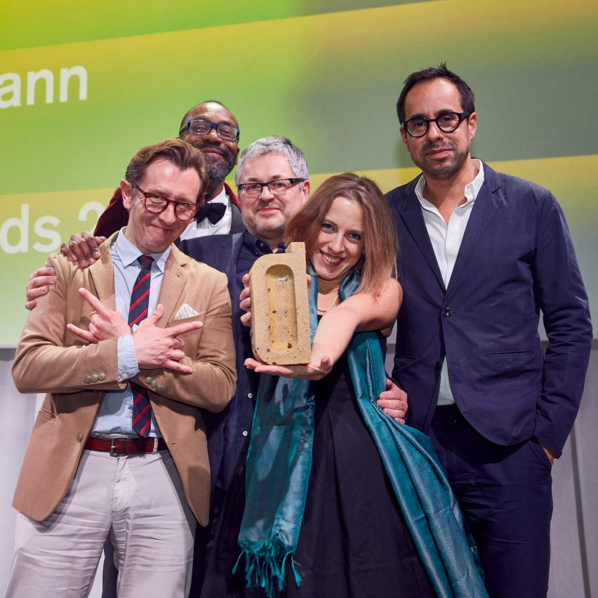 """""""Winning has opened doors to another level of business"""" say Dezeen Awards 2018 winners. Pictured Casson Mann accepting accepting a Dezeen Award for interior design project of the year"""
