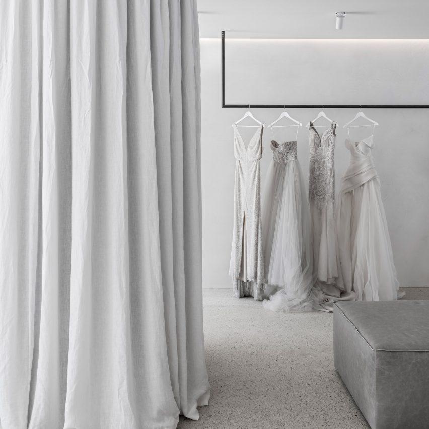 Interiors of Mariana Hardwick bridal boutique, designed by Adam Kane Architects