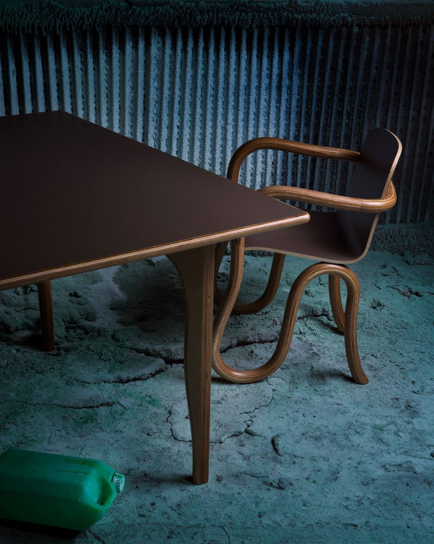 Matthew Day Jackson creates moon-inspired Formica to make furniture