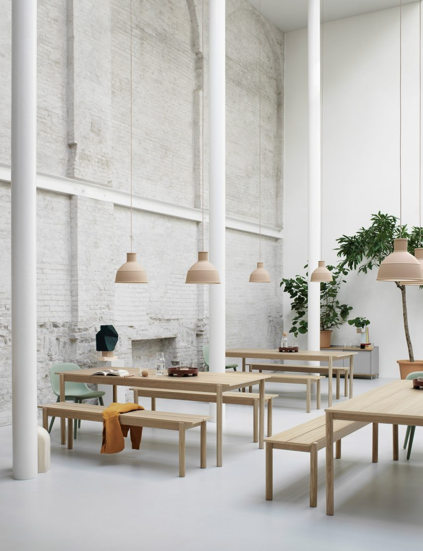 Linear Wood table and bench by Thomas Bentzen for Muuto