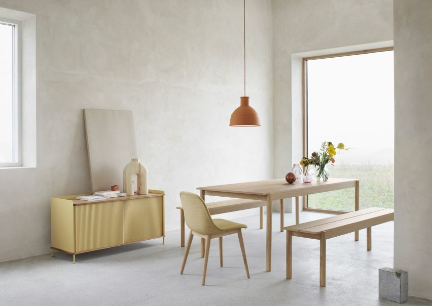 Thomas Bentzen Designs Linear Wood Dining Table And Bench For Muuto