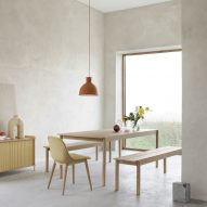 Thomas Bentzen brings garden furniture indoors with Linear Wood dining table for Muuto