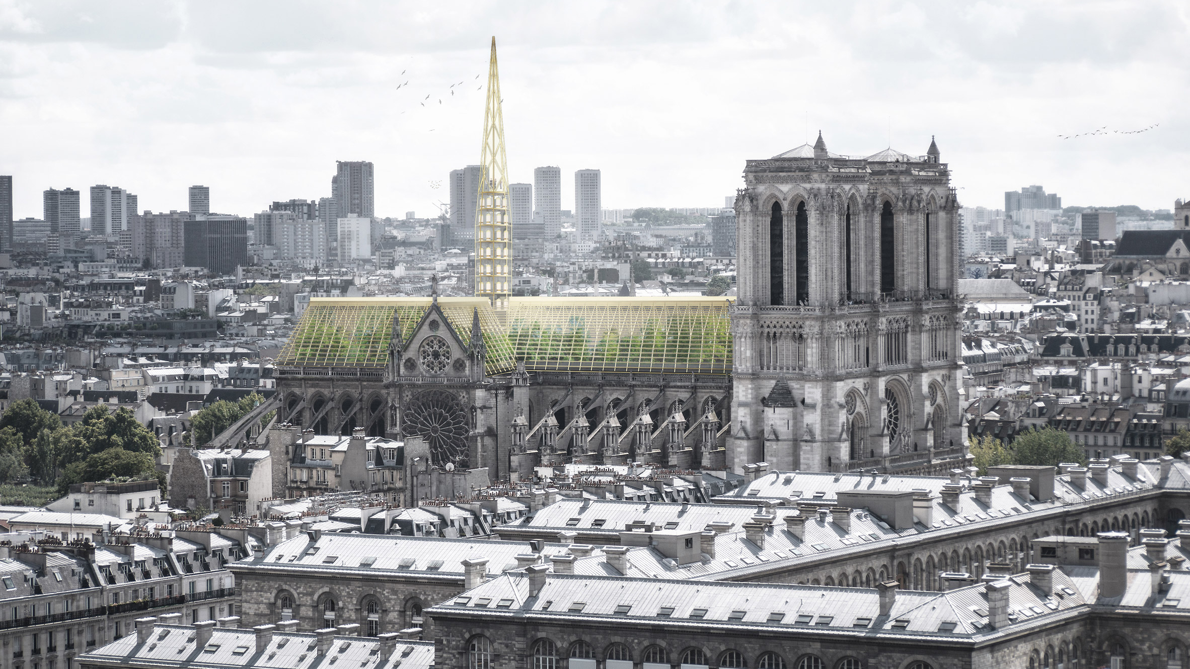 Nab Studio Proposes Turning Notre Dame Roof Into Public Greenhouse