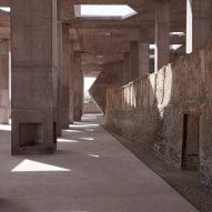 Valerio Olgiati creates huge red concrete canopy at entrance to Bahrain's Pearling Path