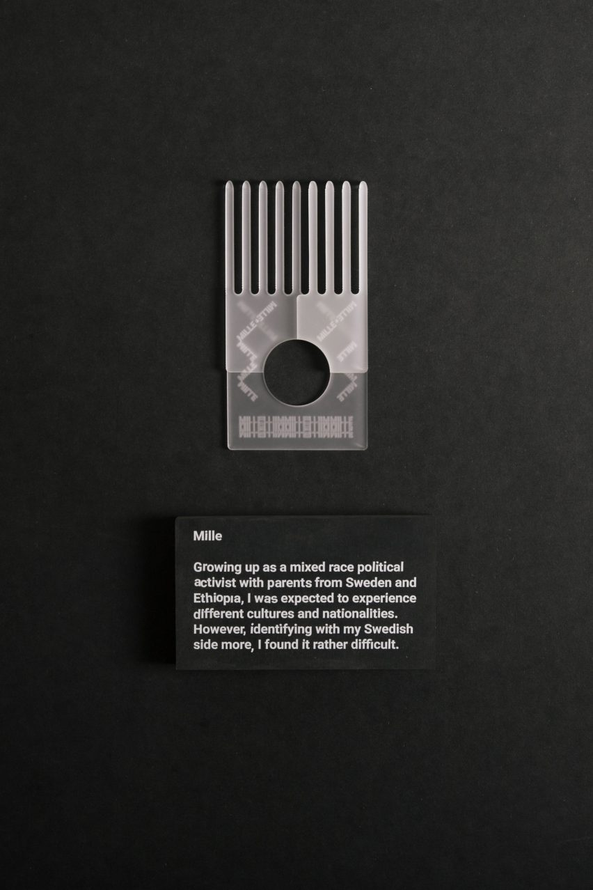 These afro combs were designed by Stockholm-based designer Simon Skinner