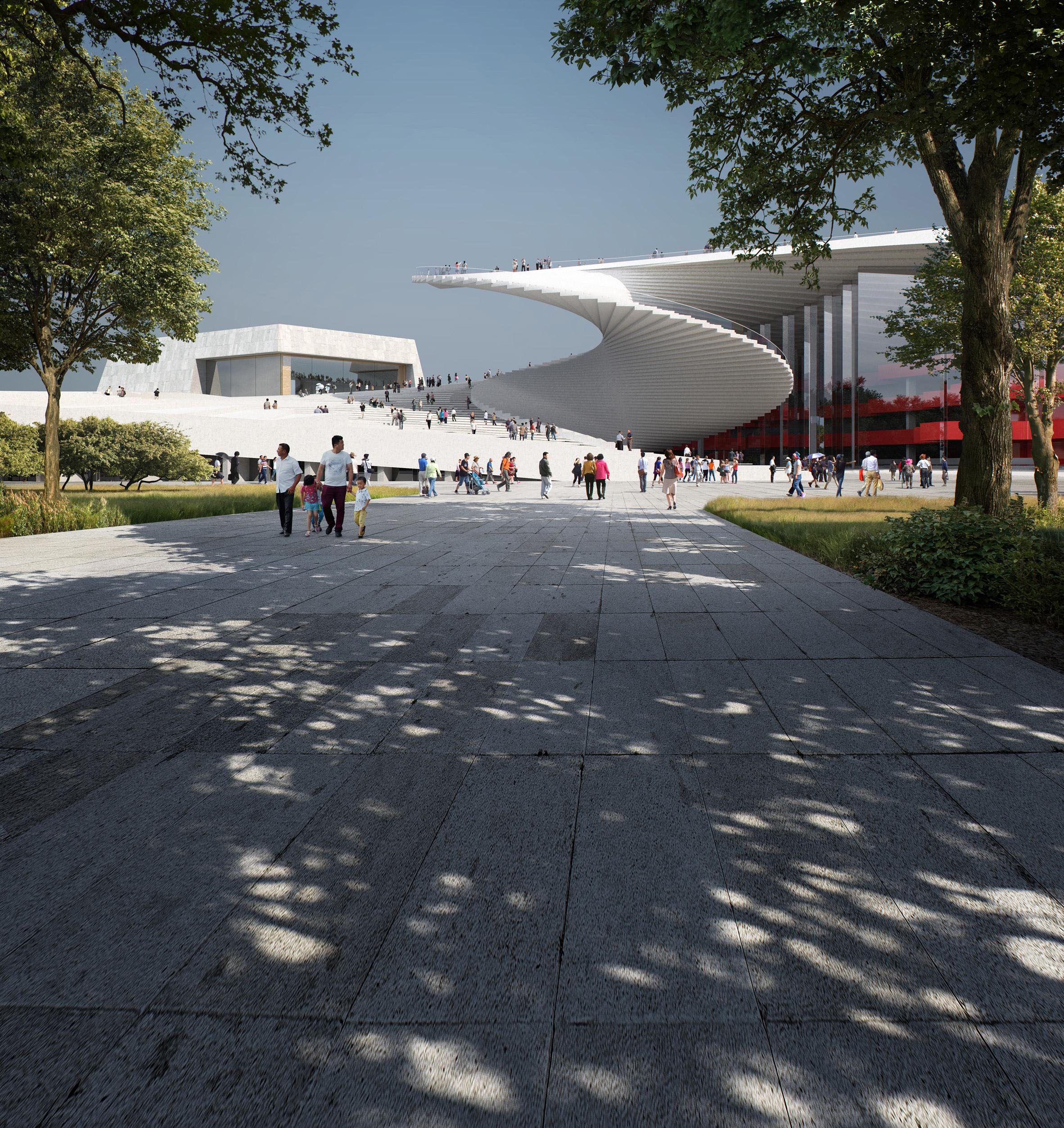 Главная особенность сооружения - гигантская винтовая лестница, соединяющая крышу театра с площадью