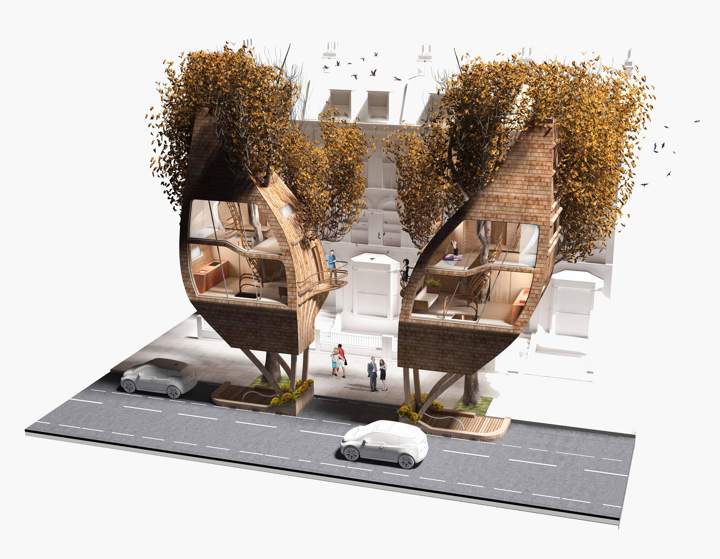 Каждое здание занимает на земле место одной парковки