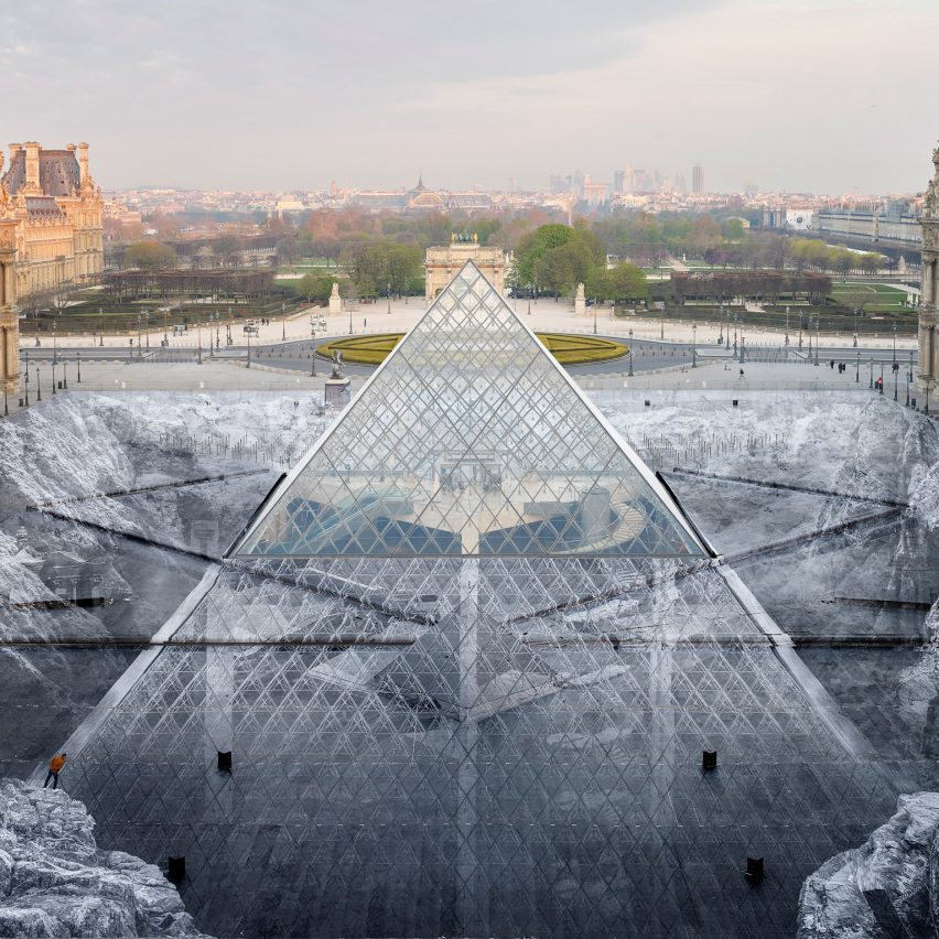The Secret of the Great Pyramid by JR under construction at Musée du Louvre