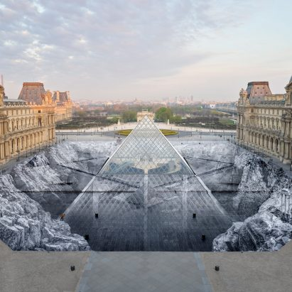 The Secret of the Great Pyramid by JR at the Louvre Museum in Paris, France