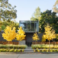 Glass and slender grey bricks clad EYRC's Waverley house in Silicon Valley