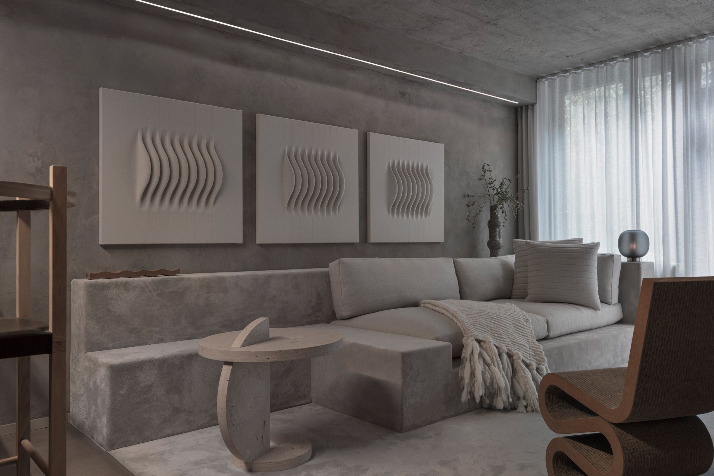 Alex P White Pairs Soft Tones And Raw Textures In New York Apartment