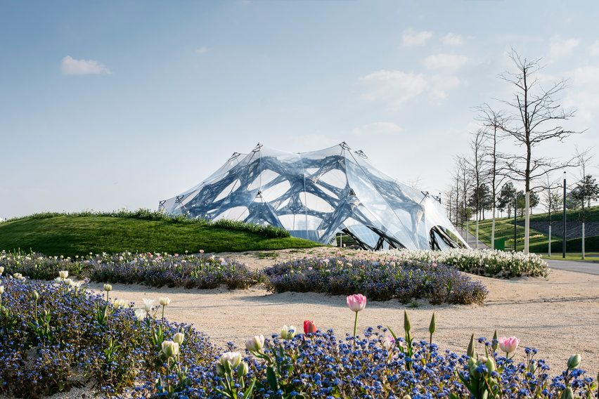 University of Stuttgart creates biomimetic pavilions for the Bundesgartenschau horticultural show in Germany