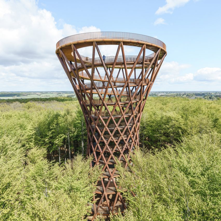 EFFEKT completes spiralling Camp Adventure tower in midst of a Danish forest