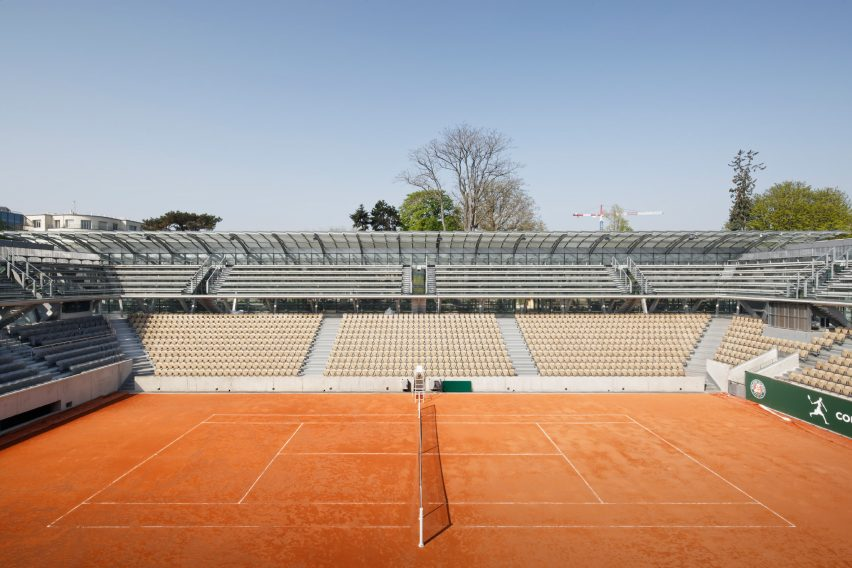 Court Simonne Mathieu at Roland Garos, the home of the French Open, by Marc Mimram Architecture & Associés