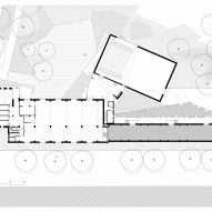 Ground floor plan with landscaping of ESAC Circus School by Daniel Delgoffe