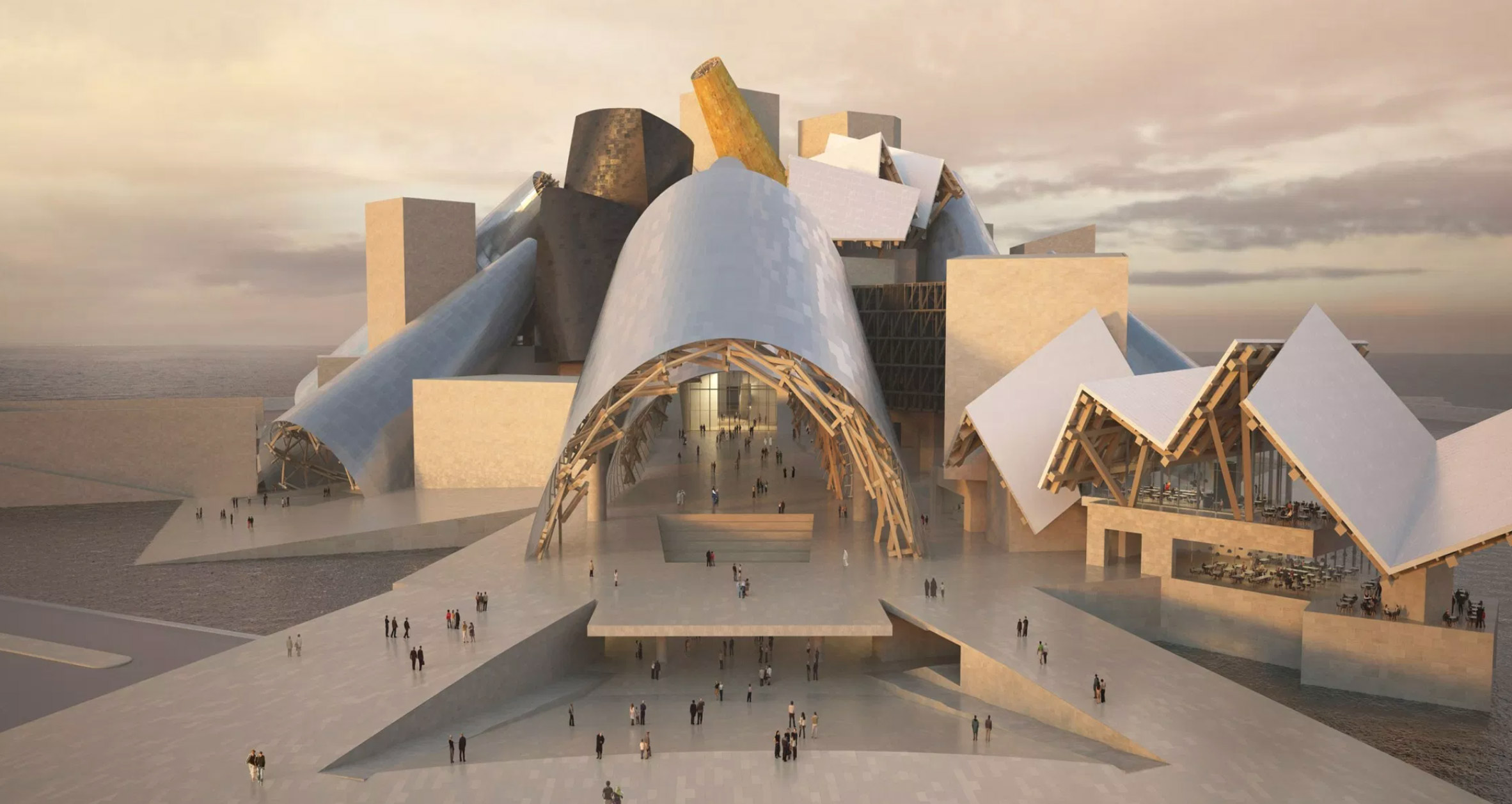 A render of Guggenheim Abu Dhabi by Frank Gehry