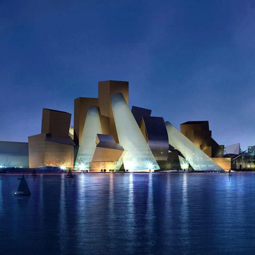 Render of Guggenheim Abu Dhabi by Frank Gehry