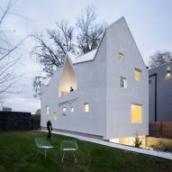 Jagged roof tops Jennifer Bonner's Haus Gables in Atlanta