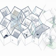Isometric section drawing of House in Hokusetsu by Tato Architects