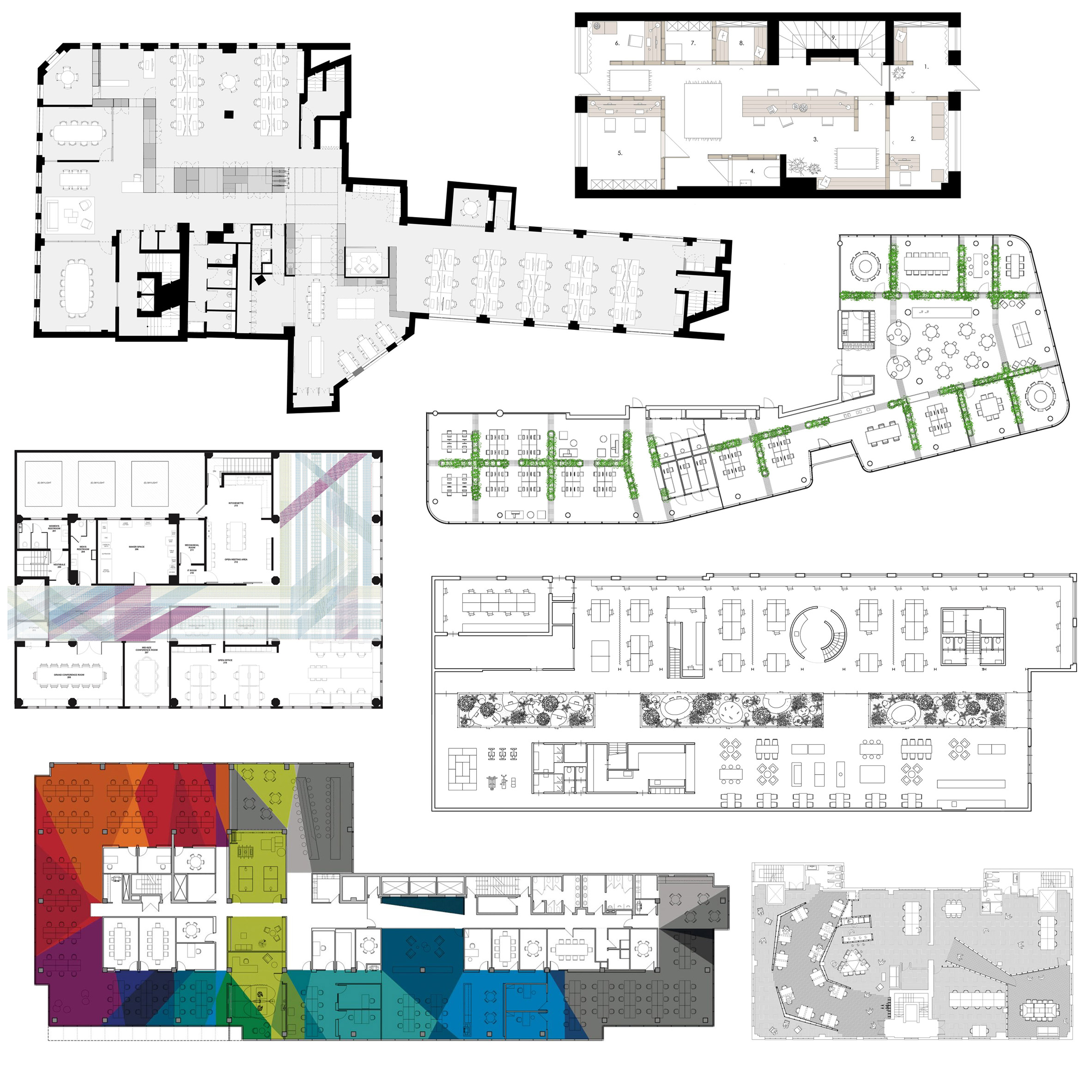 10 office floor plans divided up in
