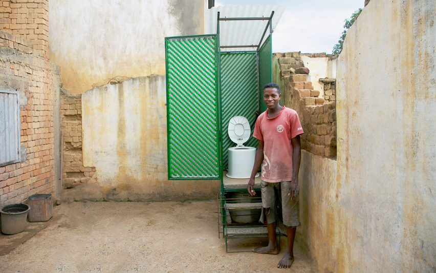LooWatt is a toilet with a waterless flush that produces electricity and fertiliser