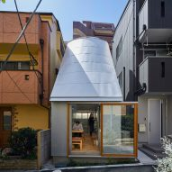 Takeshi Hosaka designs tiny house in Tokyo with funnel-like roofs