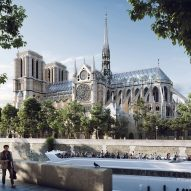 Watch a fly-through animation showing Notre-Dame rebuilt with a replica spire and a glass roof
