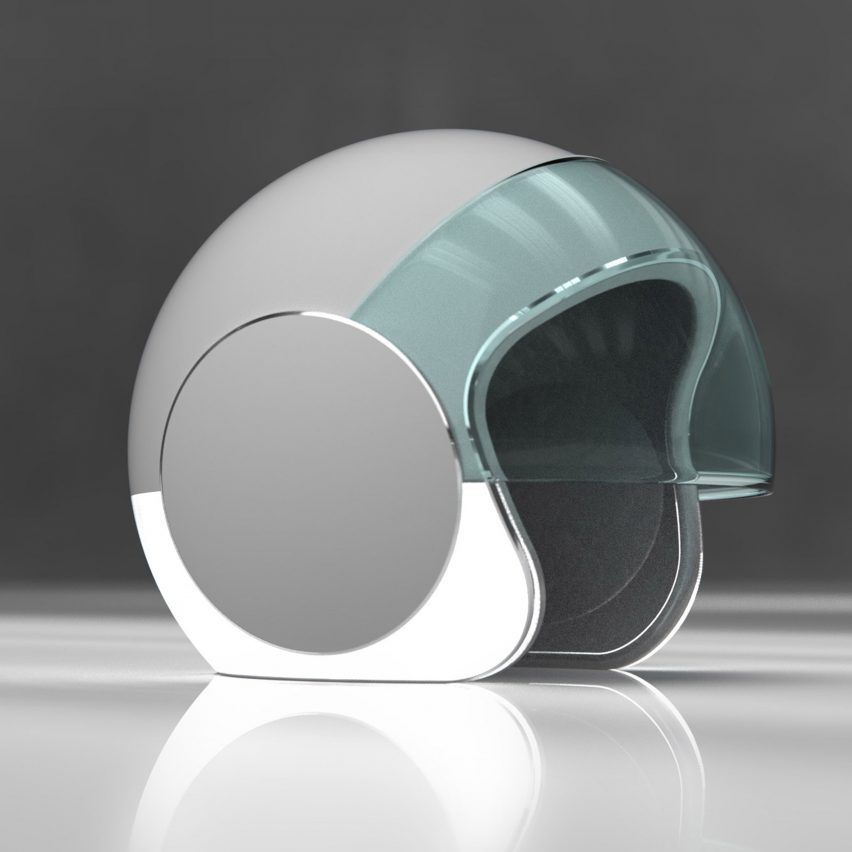 Joe Doucet's Sotera motorcycle helmet uses coloured lights to prevent accidents
