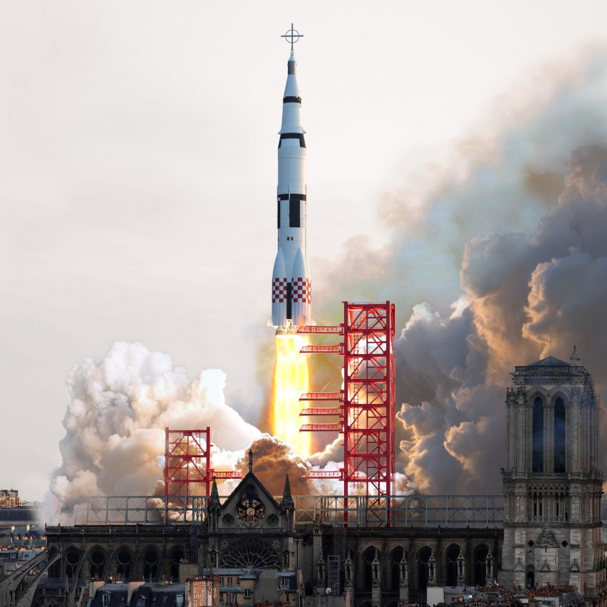 Sebastian Errazuriz ridicules Notre-Dame proposals by turning cathedral into rocket launchpad