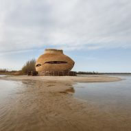 Thatched reeds cover egg-shaped observatory for watching birds