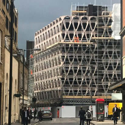 London's brutalist Welbeck Street car park with its distinctive precast concrete facade is being demolished ahead of the site becoming a hotel