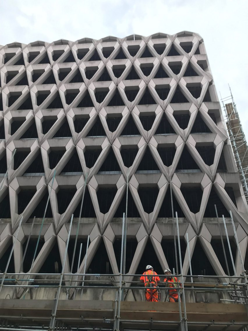 London's brutalist Welbeck Street car park with its distinctive precast concrete facade is being demolished ahead of the site becoming a hotel.