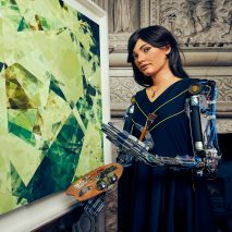 An exhibition of paintings, drawings and sculpture made by Ai-Da, a humanoid robot with artificial intelligence, has been unveiled at a gallery in the UK