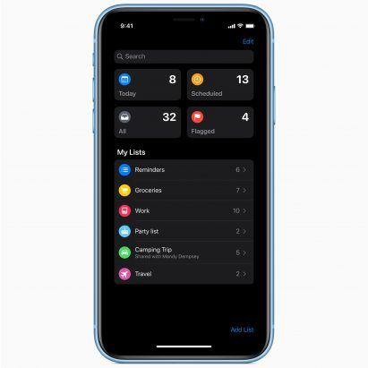 Apple iPhone iOS 13 including dark mode
