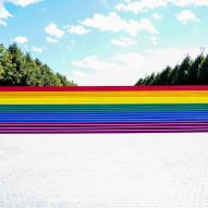 Louis Kahn's Four Freedoms State Park coloured with rainbow flag for Pride Month 2019