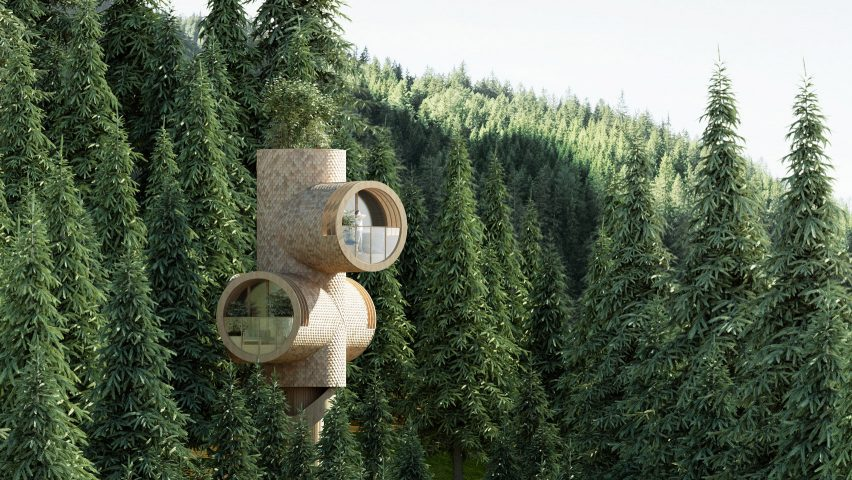 Bert by Precht is a concept for a modular treehouse designed for startup Baumbau