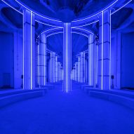 AMO creates blue-lit runway in Shanghai's Silo Hall for Prada menswear show