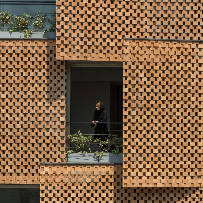 Tehran apartment block by Fundamental Approach Architects features perforated brick screens