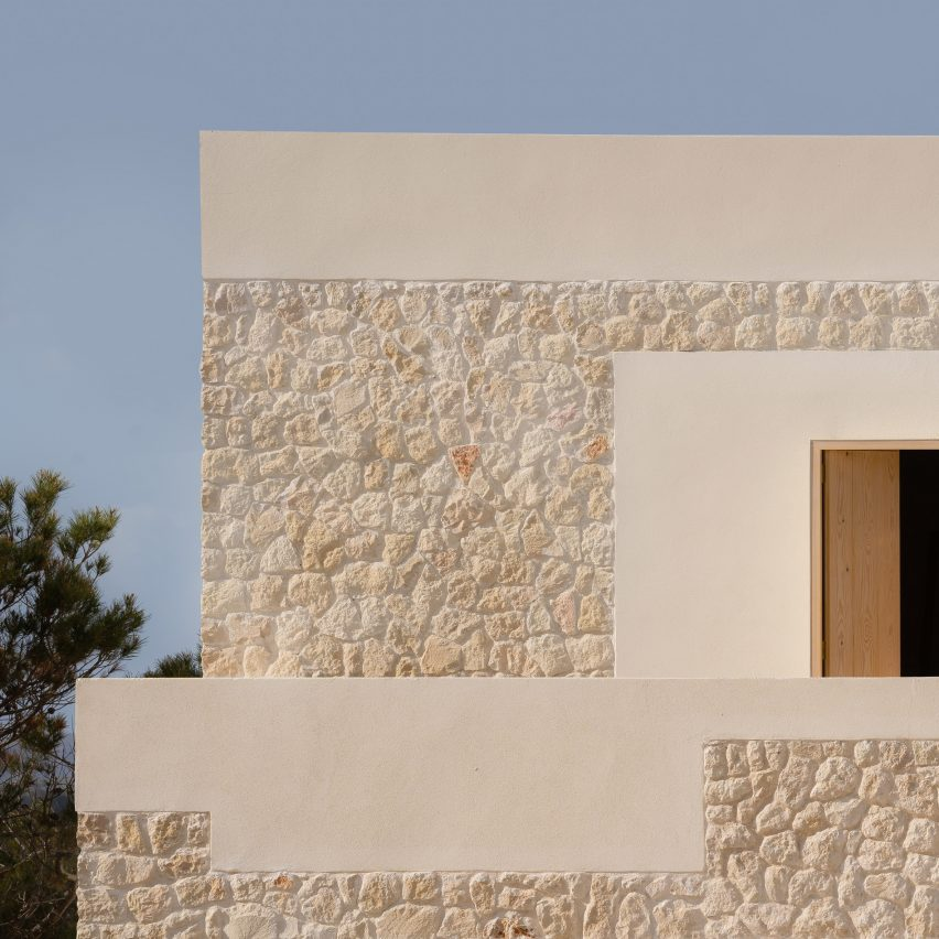 Nomo Studio clads Stone House in Menorca with limestone dug from its site