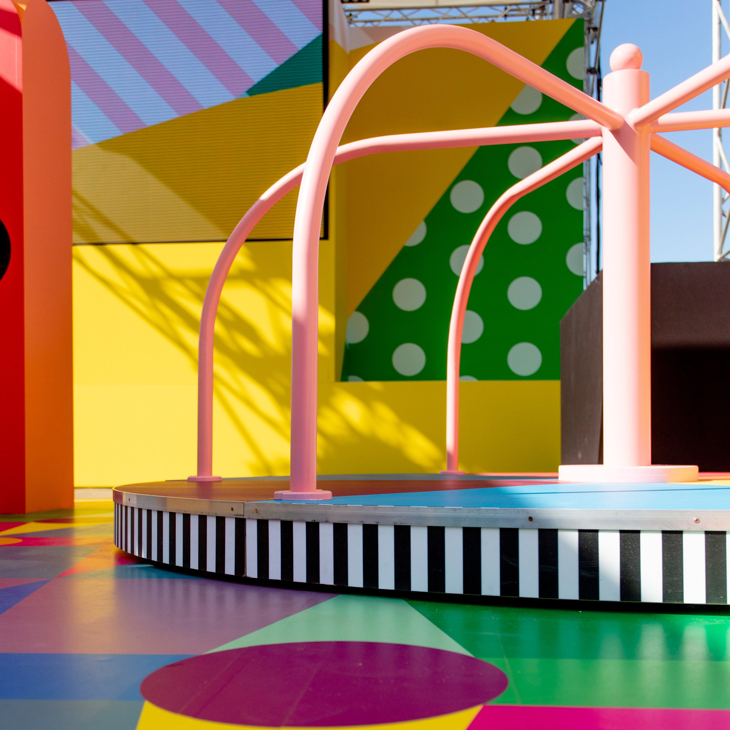 Dezeen's top 10 architecture trends 2019: Colourful playground installation for Pinterest at Cannes Lions by Yinka Ilori