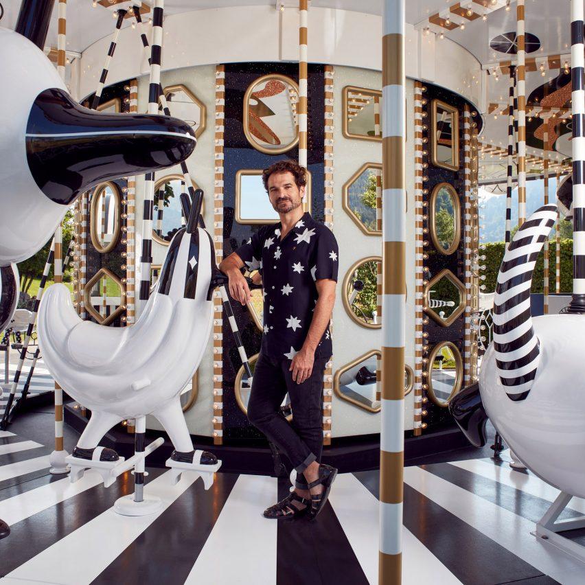 Jaime Hayon creates monochrome carousel for Swarovski's Tyrolian theme park