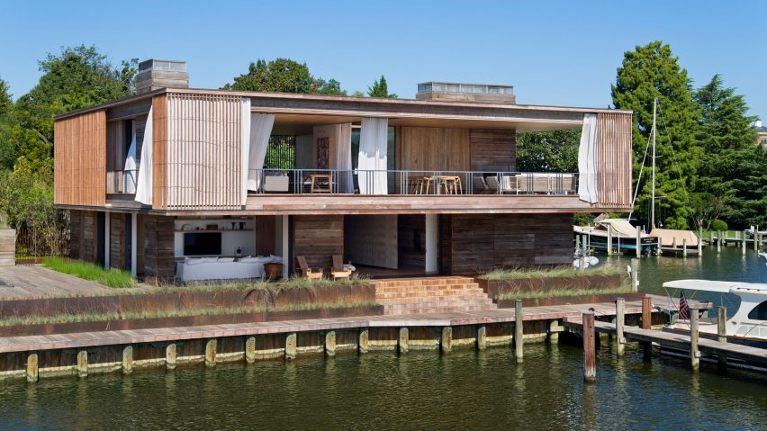Bates Masi designs slatted wooden home for sailing family on Annapolis waterfront